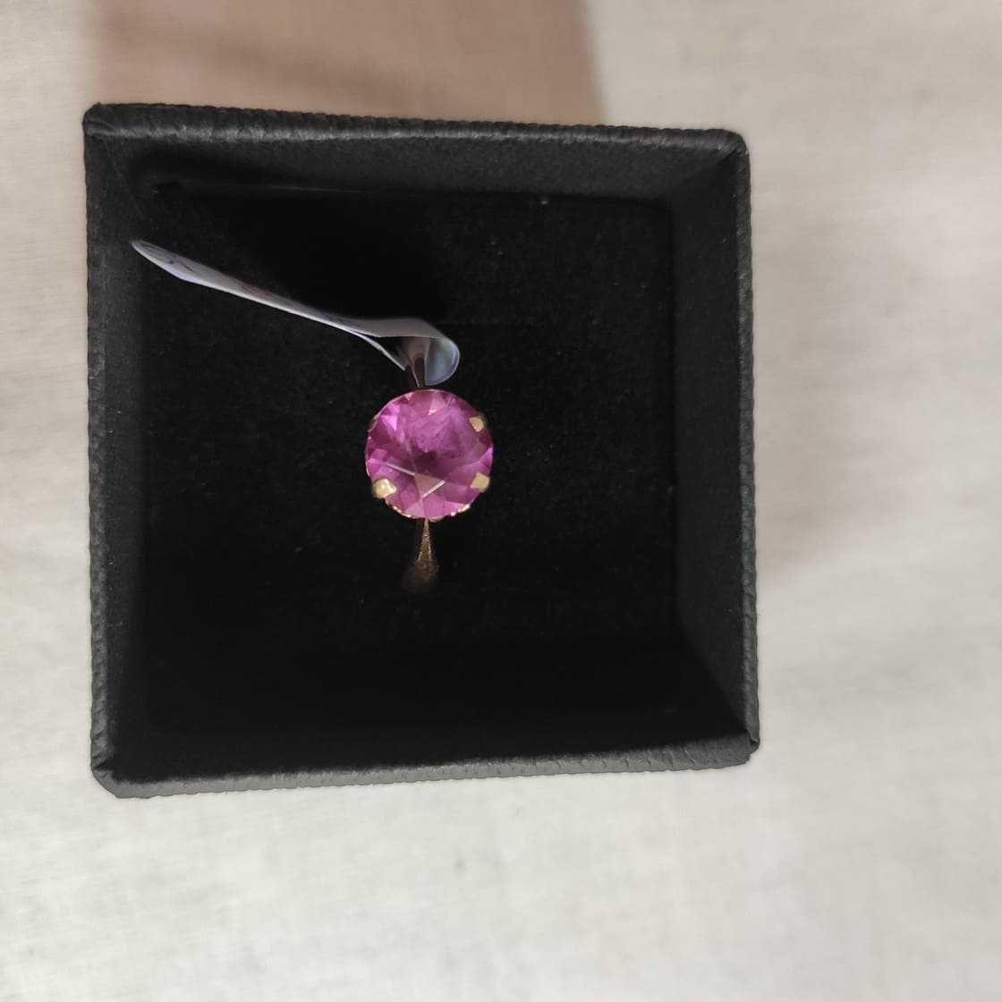 pierścionek złoty z różowym oczkiem , lombard madej sc