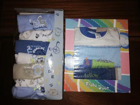 Conjunto Calça e Camisola e 7 Bodies 3 M novos, nas embalagens