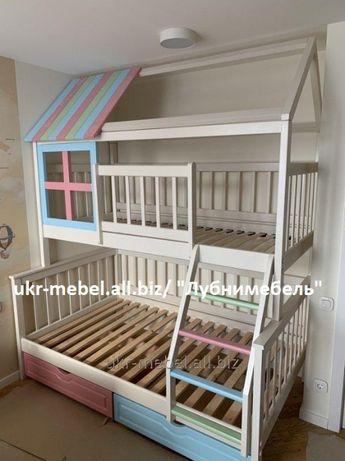 Кровать двухъярусная деревянная Домик5, двоярусне (двоповерхове) ліж
