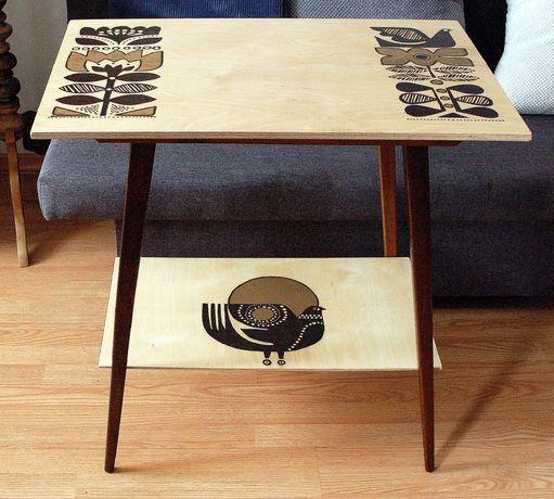 Stolik PRL, stół drewniany, rtv
