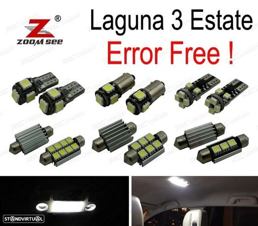 KIT COMPLETO DE 17 LÂMPADAS LED INTERIOR PARA 2008-2015 RENAULT LAGUNA GRANTOUR III 3 MK3