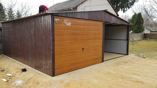 Garaż blaszany garaże 6x5 Wzmocniony, brąz + bramy złoty dąb