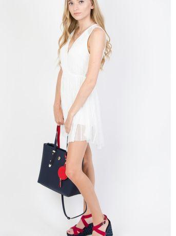 Sukienka tunika kombinezon ażurowa biała