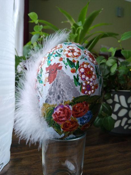 Strusie Jajo Wielkanocne - ręcznie zdobione