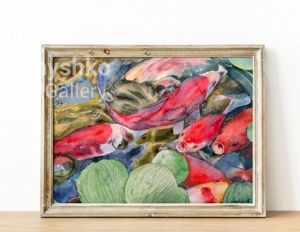 Картина акварелью Японские красные рыбки Кои в пруду - оригинал ручная