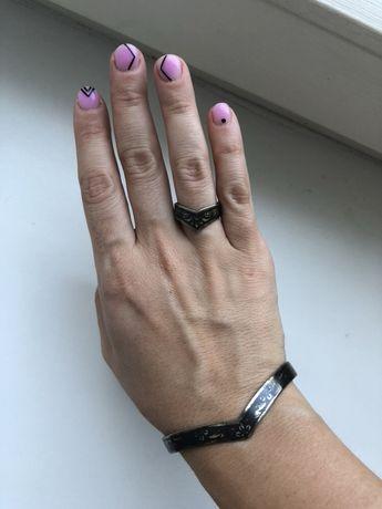 Серебряный набор кольцо и браслет