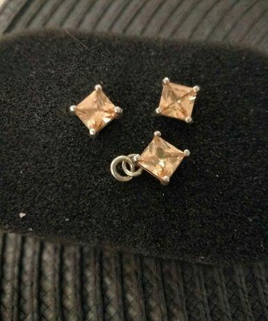 Kolczyki srebrne wkrętki wisiorek SREBRO 925
