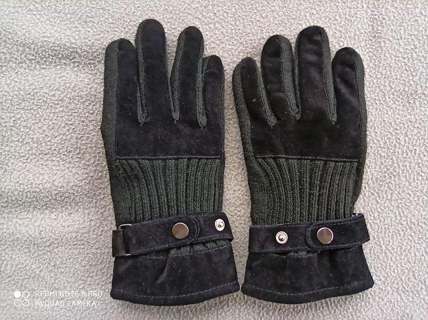 Nowe czarne zamszowe rękawiczki damskie XL