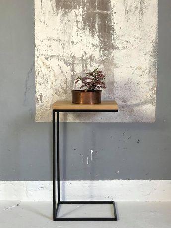 Pomocnik, stolik pod laptop. styl industrialny, loftowy. Dębowy blat.