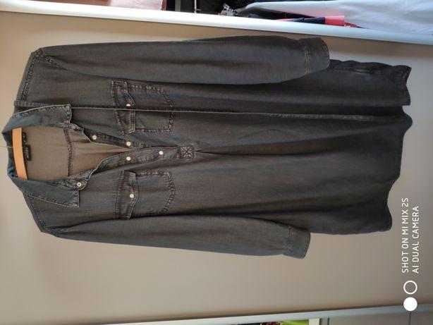 Ciemna ciążowa jeansowa tunika z lidla