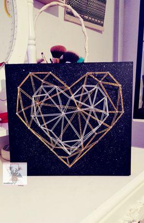 Serca String Art prezent Ślubny , rocznicowy,walentynkowy