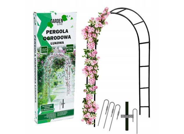 Pergola ogrodowa na róże kwiaty metalowa łuk 240cm łukowa ogród balkon