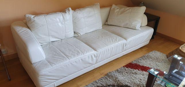 Sofa Etap,biała, skóra naturalna