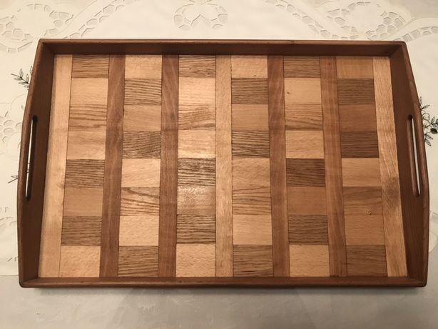 Drewniana taca hand made tacka śniadanie szachownica wood