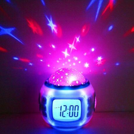 Настольные часы с проэктором звёздного неба ночник термометр