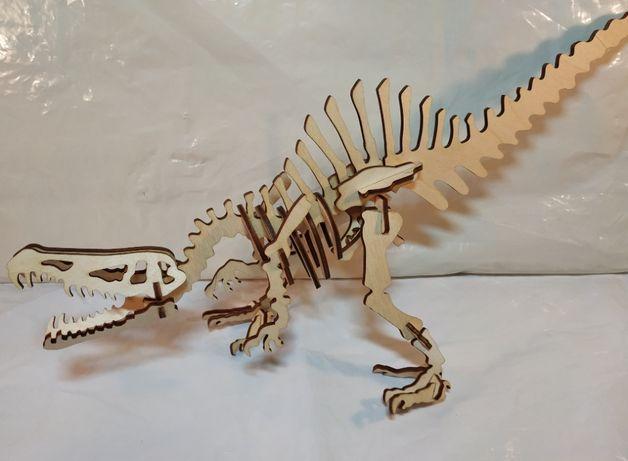 Конструктор, 3D пазл из дерева, Хищные Динозавры (Набор из 5 видов)