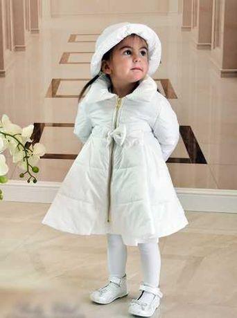 Płaszczyk biały do chrztu dla dziewczynki rozmiar 80.