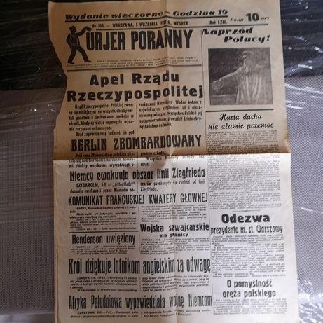 Gazeta z 1939roku Kurier Poranny