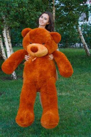 Шикарный коричневый большой мишка, плюшевый медведь красивый