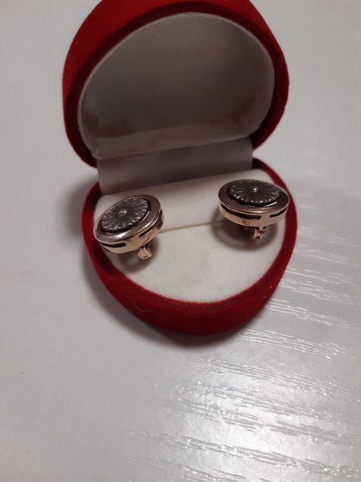 Замечательные  серёжки серебряные  с позолотой. Алексеевка - изображение 1