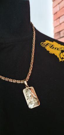 Złoty łańcuszek 60cm , pr 585 , splot królewski 3,4 mm, zawieszka