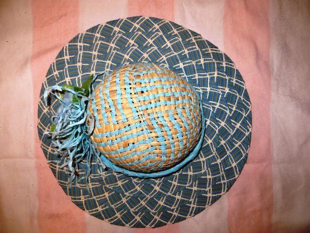 Шляпа из соломки и ткани женская пляж солнце море панамка панама