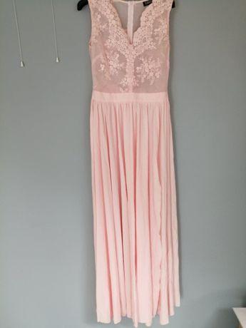 Długa suknia. Pudrowy róż 38 M