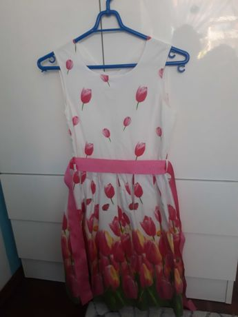 Sukienka lato kwiaty 146 cm wesele okazja