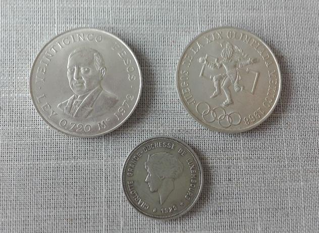 Srebrne monety Meksyku i Luksemburga