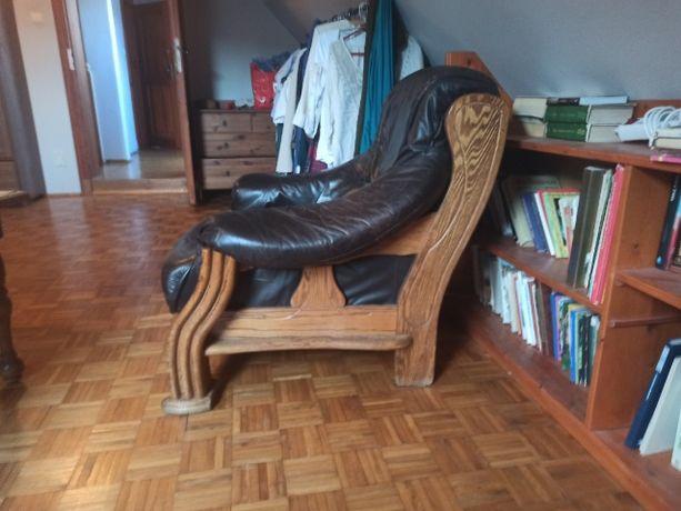 Fotel skórzany brązowy wypoczynek