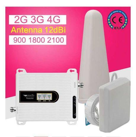 Мощный 70dB усилитель репитер мобильной связи GSM, 900/1800/2100 MHz
