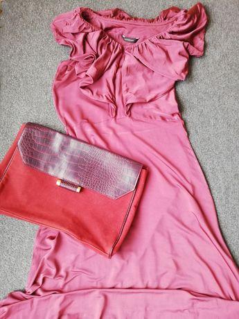 Długa elegancka suknia z falbaną kopertówka gratis
