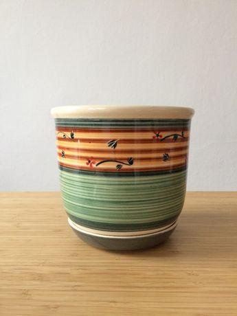 Doniczka ceramiczna z podstawką