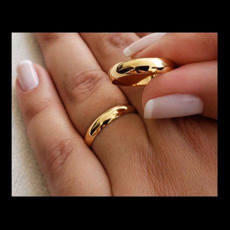Śliczna Klasyczna Para Złotych Obrączek Ślubnych