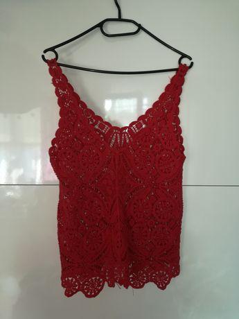 Czerwona bluzka haft M