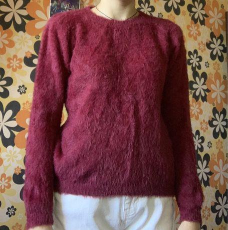 Бордовый свитер-травка, лонгслив, кофта, свитшот, худи