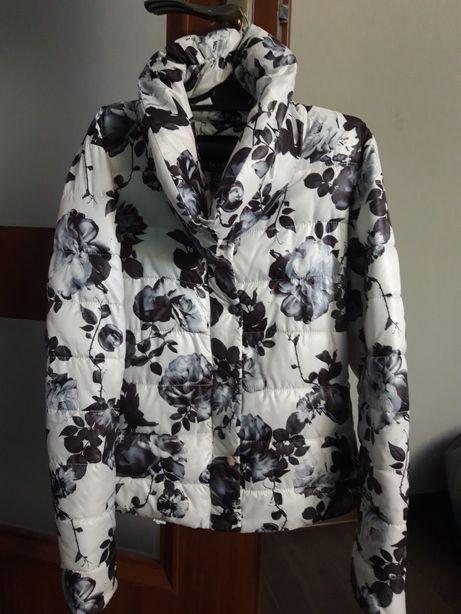 AMISU NEW YORKER piękna kurtka jesień zima w kwiaty przejsciowa 36/38
