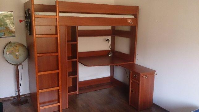 Łóżko piętrowe z biurkiem i szafą