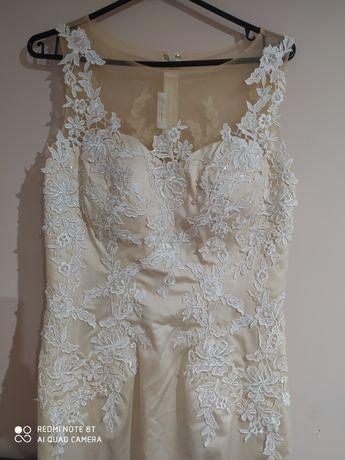 Suknia ślubna/balowa Pretty M kremowa biała koronka ślub wesele syrenk