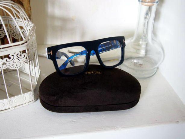 Tom Ford granatowe oprawki okulary damskie zerówki marmurki