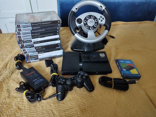 PlayStation 2 + 14 gier + kierownica