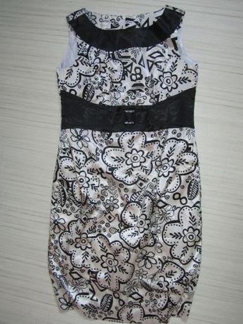 sukienka wizytowa 46 biało czarna wesele