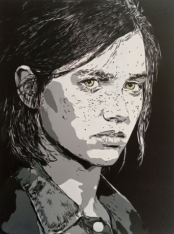 Ellie The Last of Us Pintura original em tela