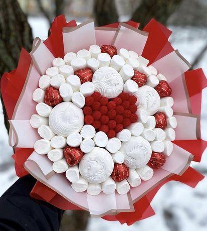 Букети из конфет и зефира на любой вкус