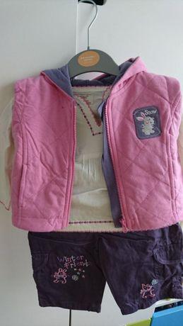 Śliczny nowy z metką komplet- spodnie,kamizelka,bluzka,3-6 m-c