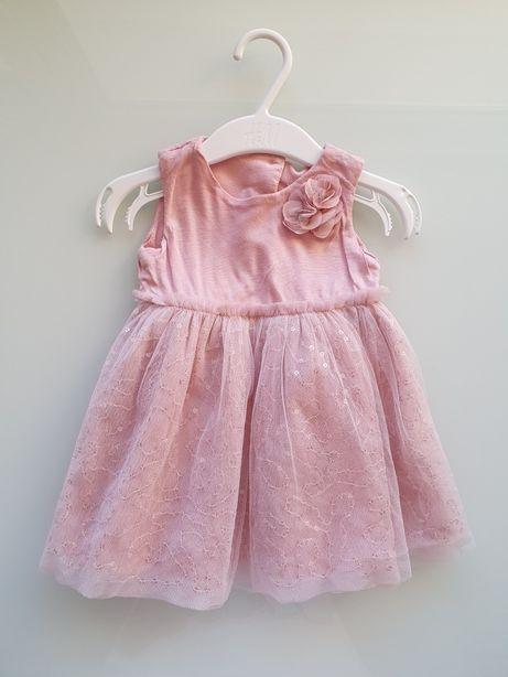 Ładna sukienka dla dziewczynki miękki tiul 68 cm!