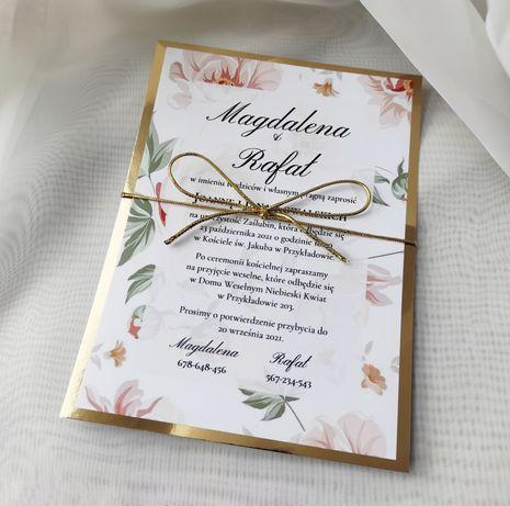 Zaproszenie na ślub / wesele / urodziny herbaciane kwiaty glamour