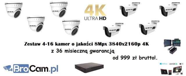 Zestaw 4 kamer 4K 8mpx 4-16 Kamery montaż monitoringu kamer Warszawa