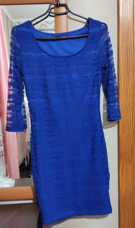 Мини платье Яркий синий цвет