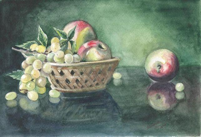 Картина Акварель - Виноград и яблоки - художник Оксана Шашкова